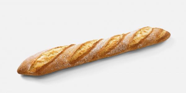 Barra de pan de aspecto muy rústico terminado en punta. Requiere un horneado final con el que adquiere un crujiente delicioso.