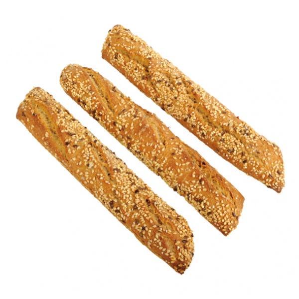 Una barrita muy alveolada, de miga oscura, aroma pronunciado y cereales tanto dentro de la masa como en la crujiente corteza. masa madre de centeno y doble fermentación.