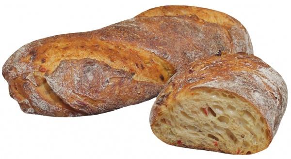 Pan de miga vaporosa y sabroso aroma con un 8% de queso blanco, 8% de pimienta y 4% de guindilla.