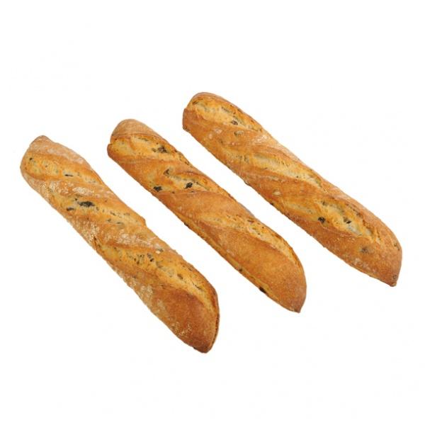 Halbes Baguette aus Oliven, nativem Olivenöl und Roggensauerteig hergestellt. Sehr knusprig!