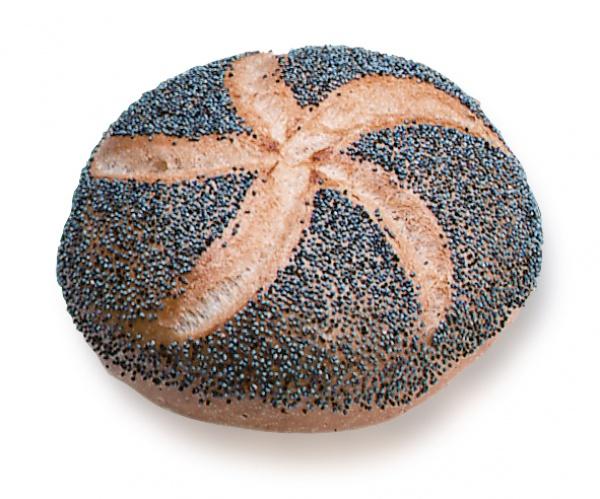Panecillo triguero redondo y crujiente, con tajo en rosetón, recubierto de se semillas de amapola.
