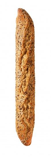 Barra elaborada a base de harina de trigo, malta y avena integral, con un proceso de doble fermentación, con corteza crujiente terminada en punta y con un ligero topping de semillas de lino, sésamo y girasol.