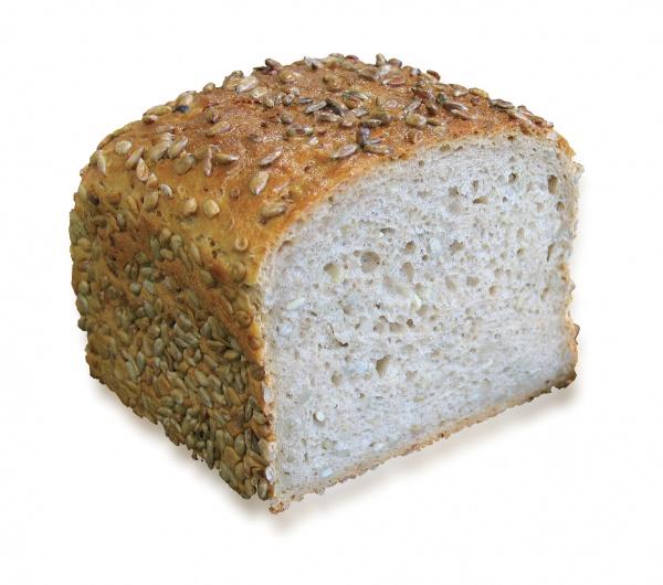 Un pan de mezcla de trigo, esponjoso y claro con un alto contenido en pipas de girasol.