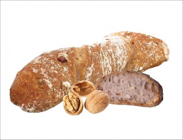 Pan de miga vaporosa y sabroso aroma con un 8% de avellana y 8% de nuez.