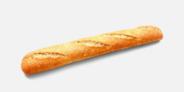 Barra Gourmet integral (51%) tiene una inconfundible tonalidad tostada, corteza crujiente sutilmente enharinada y todos los beneficios del grano entero.