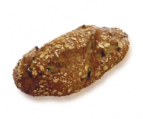 Este delicioso panecillo de trigo mixto con semillas, pasas y sabrosos trocitos de albaricoque, seduce cualquier paladar.