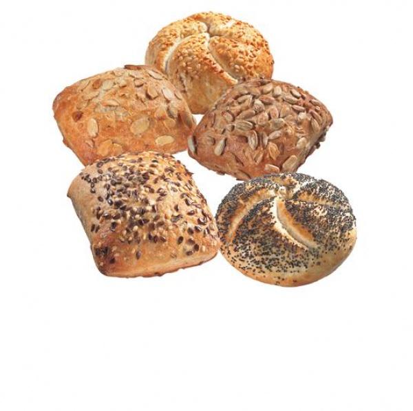 Cinco variedades de minipanecillos, cereales, pipas de calabaza, pipas de girasol, sésamo y amapola.